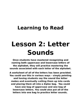 Learning to Read: Lesson 2: Letter Sounds