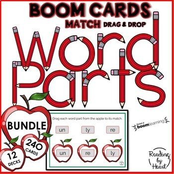 Learning to Recognize Word Parts to Decode Multisyllabic Words BOOM CARDS BUNDLE