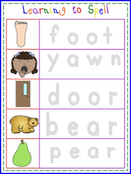 Learning to Spell, Write and Spell Word Mats and Sheets (4 letter words)