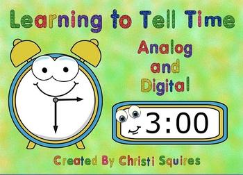 Telling Time Analog and Digital Clocks SMARTBoard Lesson