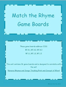 Nursery Rhymes and Songs Game Unit: Match the Rhyme Game Boards