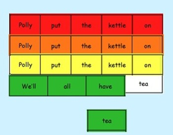 Learning to Track Print with Nursery Rhymes: Polly Put the Kettle On