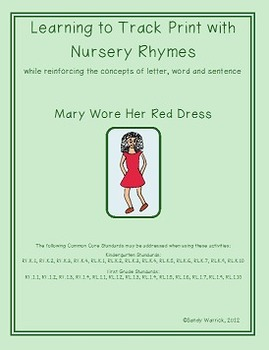 Learning to Track Print with Nursery Rhymes & Songs: Mary Wore Her Red Dress