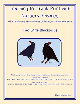 Learning to Track Print with Nursery Rhymes: Two Little Blackbirds