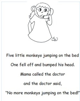 Learning to Track Print with Nursery Rhymes & Songs: Five Little Monkeys