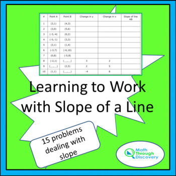 8th Grade:  Learning to Work with Slope of a Line