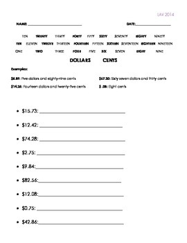 Learning to Write Prices Worksheet Set A
