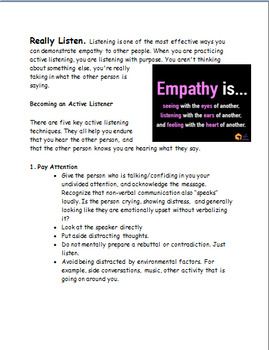 Learning to have Empathy for Others- 2 meaningful activities