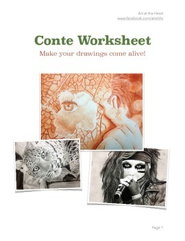 Learning to use Conte or Charcoal Worksheet (with VIDEO TUTORIAL)