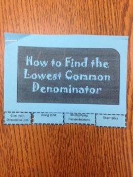 Least Common Denominator Foldable