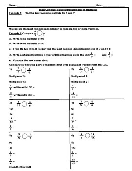Least Common Denominator/Comparing Fractions Worksheet