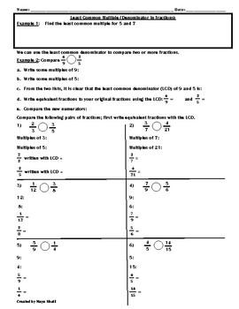 least common denominatorcomparing fractions worksheet  teaching  least common denominatorcomparing fractions worksheet  teaching the lesson