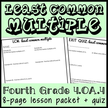 Least Common Multiple: 8-Page Lesson Packet and Quiz, Finding Multiples, 4.OA.4