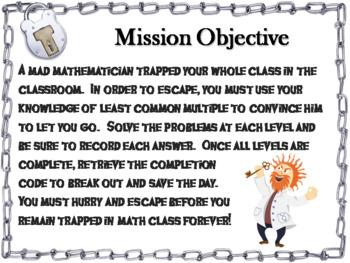 Least Common Multiple Activity: Escape Room Math