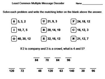 Least Common Multiple Activity: Math Message Decoder