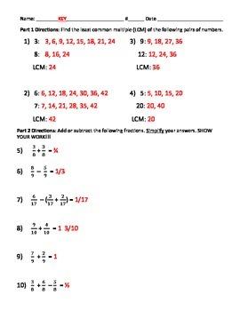 Least Common Multiple & Add/Subtract Fractions w/ Like/Unlike Denominators Quiz