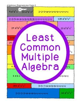 Least Common Multiple Algebra Activity PDF Whole Numbers Algebraic Expressions