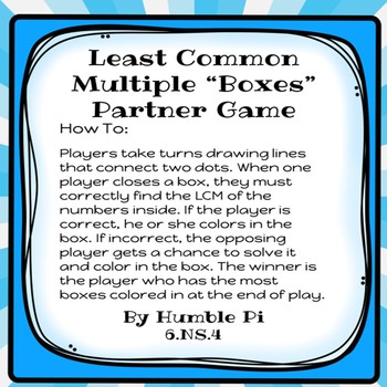 Least Common Multiple Boxes Partner Game-6.NS.4