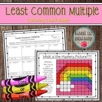 Least Common Multiple Coloring Worksheet LCM
