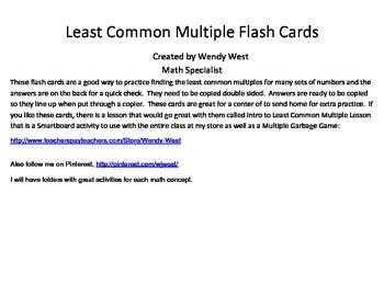Least Common Multiple Flash Cards