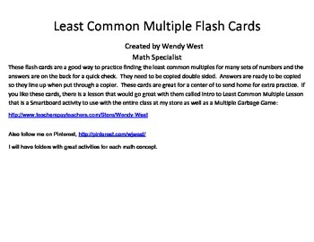 Least Common Multiple Flash Cards