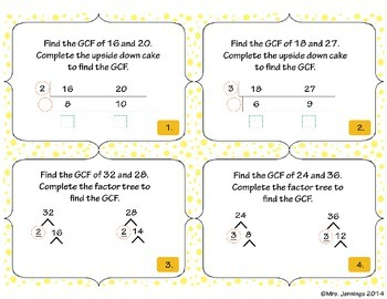Least Common Multiple, Greatest Common Factor Task Cards