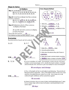 Least Common Multiple Guided Notes