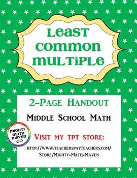 Least Common Multiple Handout - Middle School Math