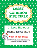 Least Common Multiple Handout - Middle School Math