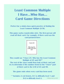 5th/6th Grade CCSS Math- Least Common Multiple I have, who has... game