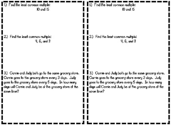 Least Common Multiple- Interactive Notebook Entry