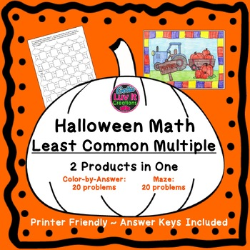Halloween Math Activities Least Common Multiple LCM Color by Number & Maze