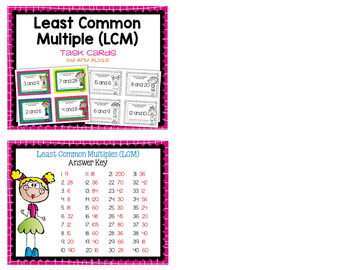 Least Common Multiple LCM Task Cards