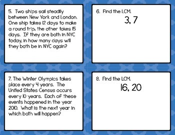 Math - Least Common Multiple (LCM) Task Cards