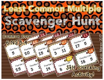 Least Common Multiple (LCM) Task Card Scavenger Hunt