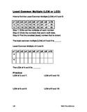 Least Common Multiple (LCM) Worksheet