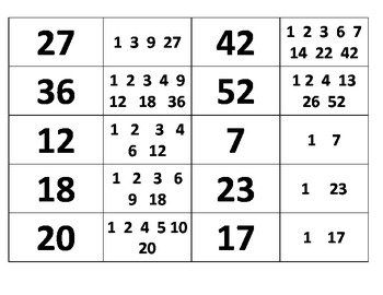 Least Common Multiple (LCM) and Greatest Common Factor (GCF) Sort