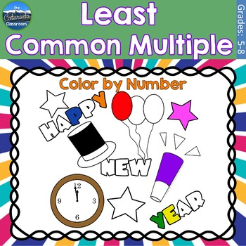 Least Common Multiple Math Practice | New Years Color by Number
