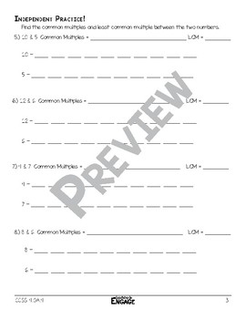 Least Common Multiple Math Video and Worksheet