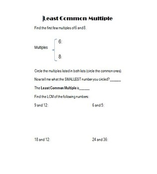 Least Common Multiple Notebook Page