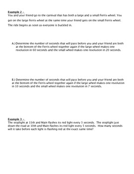 Least Common Multiple Real Life Problems Packet