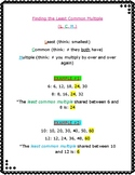 Least Common Multiple Reference Sheet