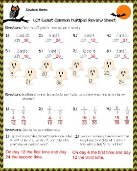 Least Common Multiple Review Sheet - Halloween Themed