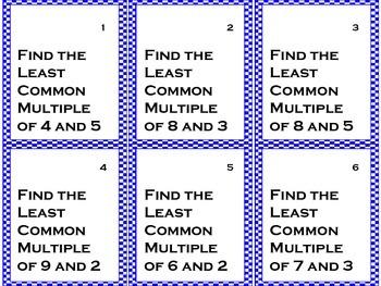 Least Common Multiple Task Cards