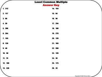Least Common Multiple Task Cards 4th 5th 6th 7th Grade