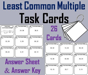 Least Common Multiple Task Cards/ LCM Task Cards 4th 5th 6