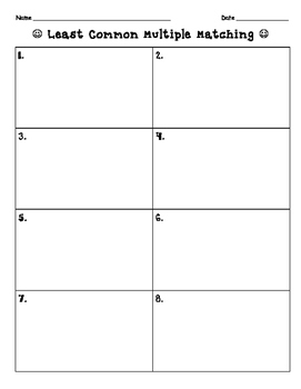 Least Common Multiple Task Cards Matching Game