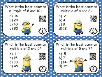Least Common Multiple Task Cards with QR Codes