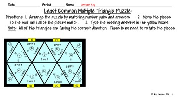 Least Common Multiple Triangle Matching Puzzle - Google Slides Version