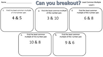 Least Common Multiple – Two Breakout Activities!